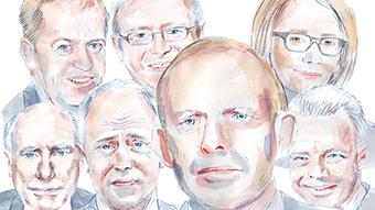 Illustration of recent Australian political leaders, including Tony Abbott, Kevin Rudd, Julia Gillard and Malcolm Turnbull.