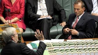 File photo: Kevin Rudd and Tony Abbott in Parliament (AAP: Alan Porritt)