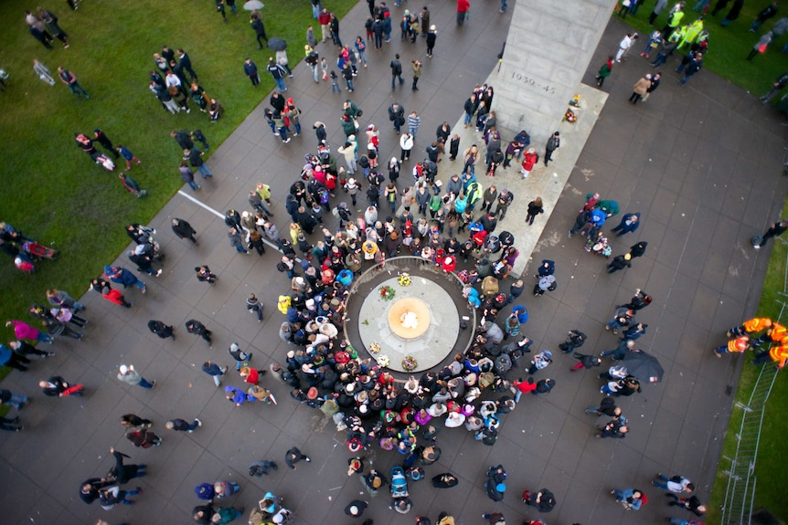 Aerial image of the Shrine of Remembrance