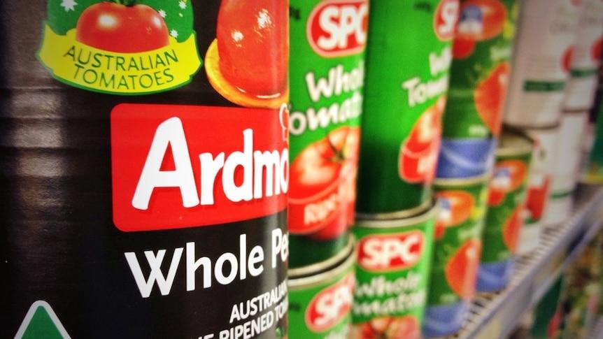 Australian tinned tomatoes on the supermarket shelves