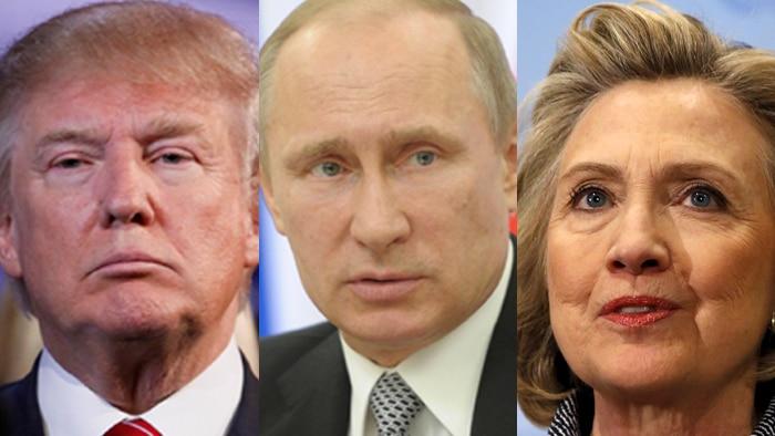 A composite image of Donald Trump, Vladimir Putin and Hillary Clinton.