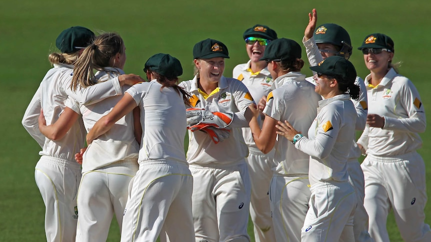 Dominant performance ... Australia celebrates after Ellyse Perry dismissed England Lydia Greenway