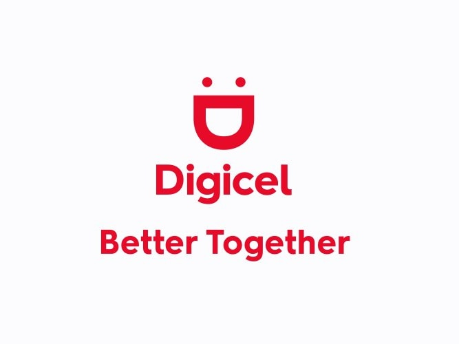 The Digicel logo with 'better together' underneath and a woman on the right making a love heart with her hands