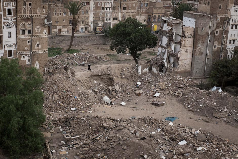 Half a street of houses, which was levelled in a Saudi coalition airstrike.