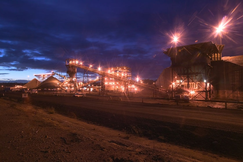 Macarthur Coal mining operations at night at Coppabella in Queensland's Bowen Basin.