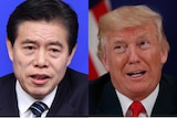 A composite image shows Chinese Minister of Commerce Zhong Shan and US President Donald Trump side by side.