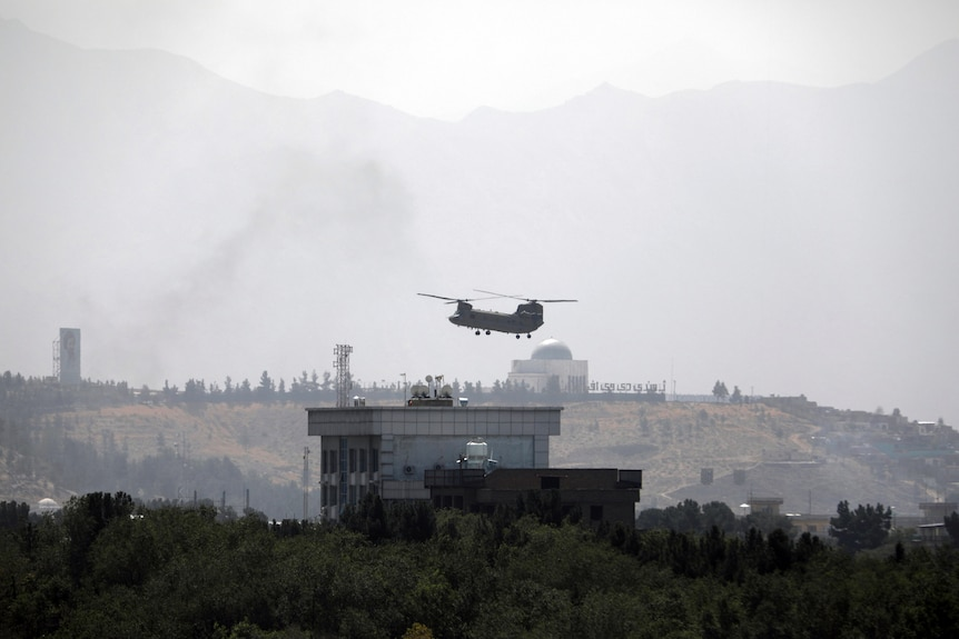US Chinook on Afghan embassy after Taliban take over