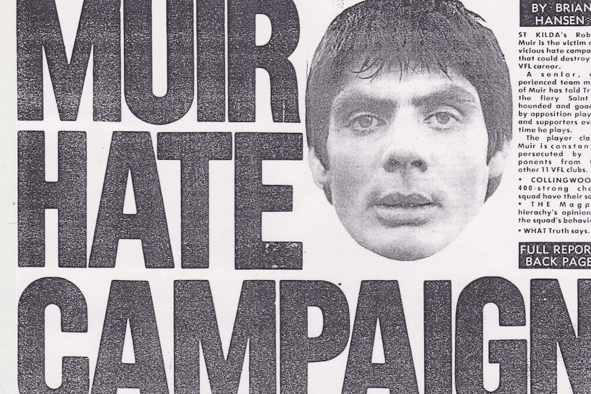 A newspaper clipping with the headline Muir Hate Campaign.
