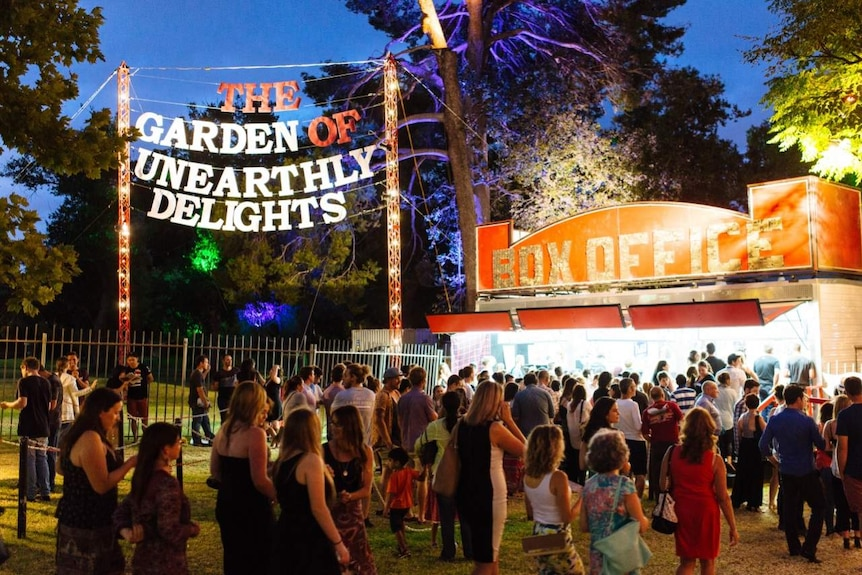 The Garden of Unearthly Delights entrance and box office at the Adelaide Fringe festival, with people queuing.