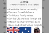A screenshot showing a picture of Fraser Anning and the Australian flag, and details of his policies.