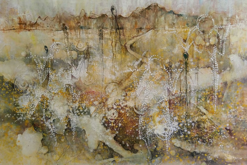 A painting titled People and Land
