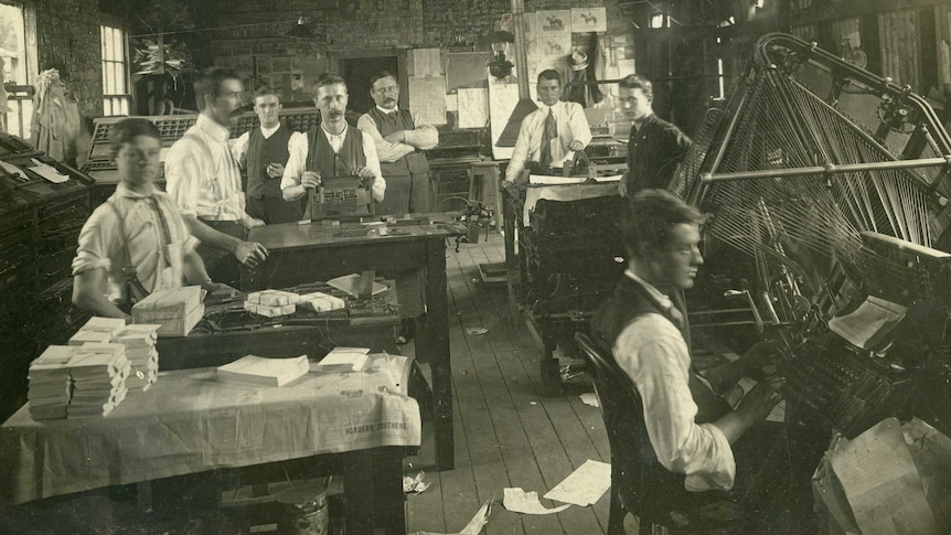An archival photo of the Dungog Chronicle premises.