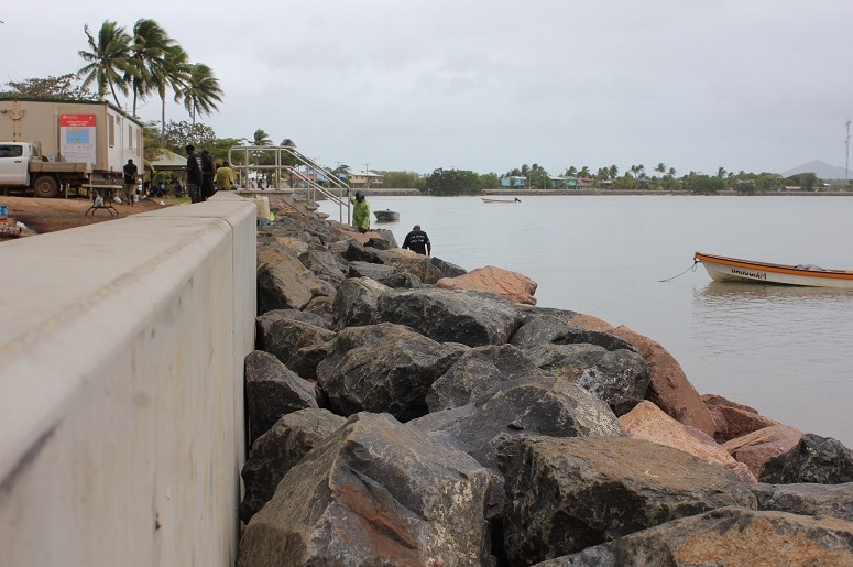 New seawall on Saibai Island in Torres Strait