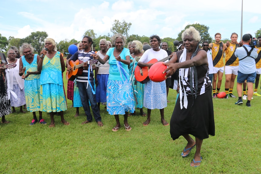 Tiwi Islands 'Strong Women' sing their football song before 2016 final