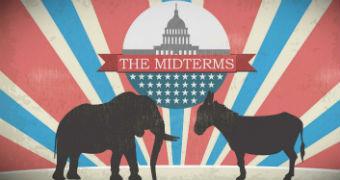 Artwork depicting Democratic and Republican party logos facing off