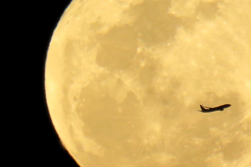 Plane flying with a large moon in the background.