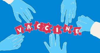 A graphic of hands piecing together a puzzle that has the word vaccine on it