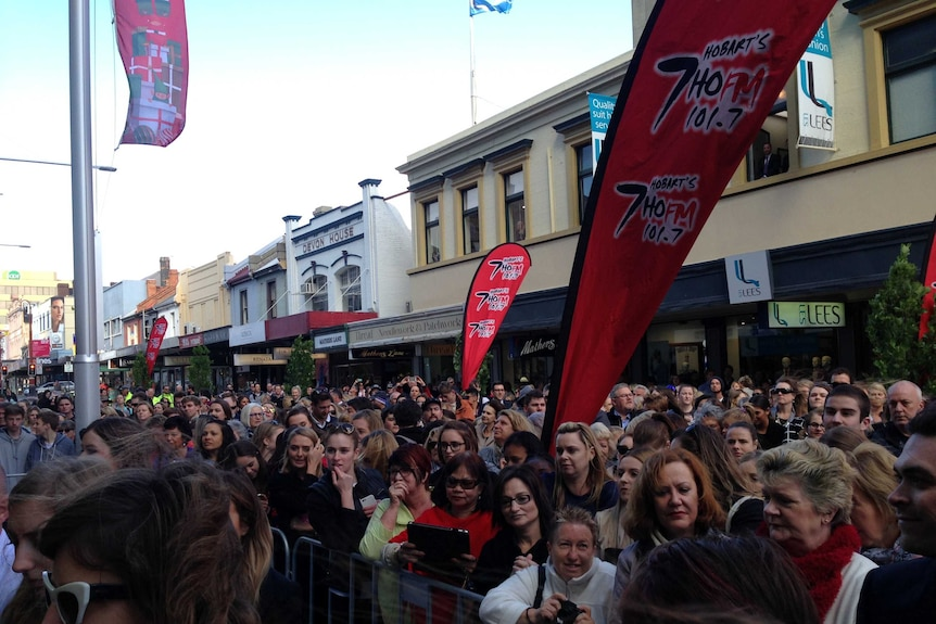 Hundreds line up for the opening of Myer in Hobart