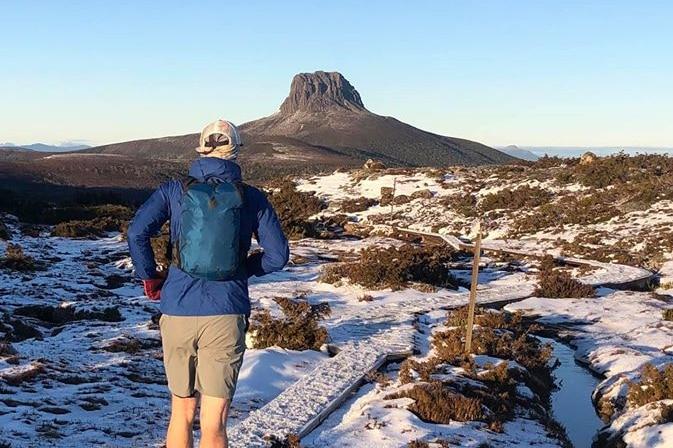 Runner braves icy track