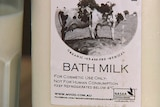 """Raw milk label which states """"for cosmetic use only - not for human consumption""""."""