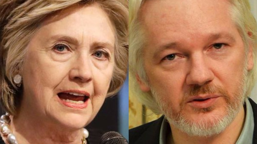 A composite image of Hillary Clinton and Julian Assange