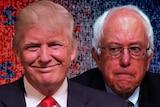 A composite image of Donald Trump and Bernie Sanders