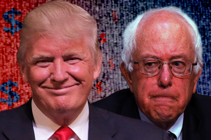 Close up image of Donald Trump and Bernie Sanders.