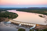 Aerial shot of the Diversion Dam at Kununurra