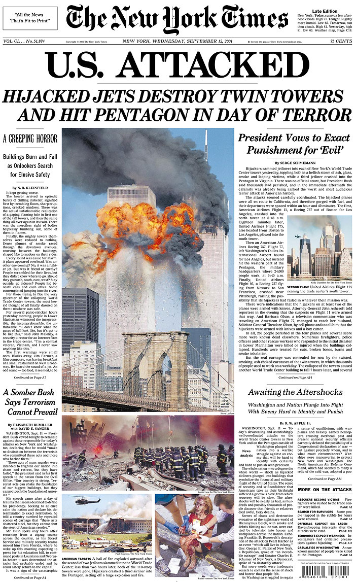 An image of the New York Times front page with the two burning towers before they collapsed, rubble and injured woman