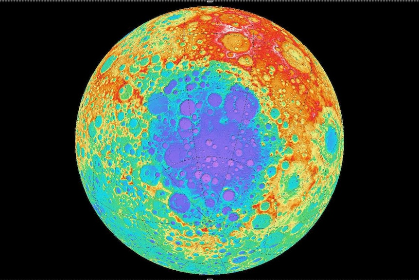 Elevation map of the South Pole-Aitken basin on the far side of the moon.