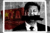 A graphic graffitiing out Xi Jinping's mouth to indicate censorship.