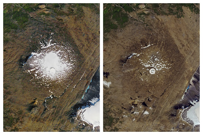 A photo taken in September 1986 (left) and August 2019 (right) shows the shrinking of the Okjokull glacier in Iceland.