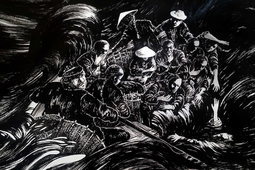 A black and white artwork depicting Chinese people and Europeans in a small boat, on rough seas.