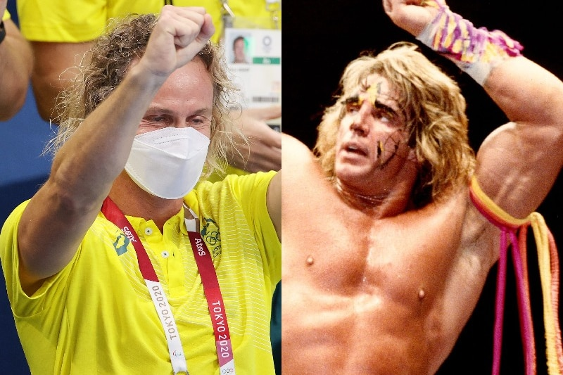 Composite photo of Dean Boxill and the Ultimate Warrior.