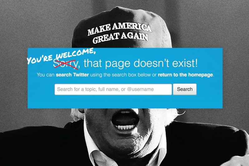 A black and white picture of Donald Trump wearing a a Make America Great Again hat, covered by a Twitter banner.