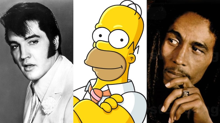 Triptych image of Elvis Presley, Homer Simpson and Bob Marley