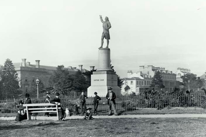 """A photo of the statue of Captain Cook in Hyde Park dated """"after 25 Feb 1879"""", which is the day it was unveiled."""