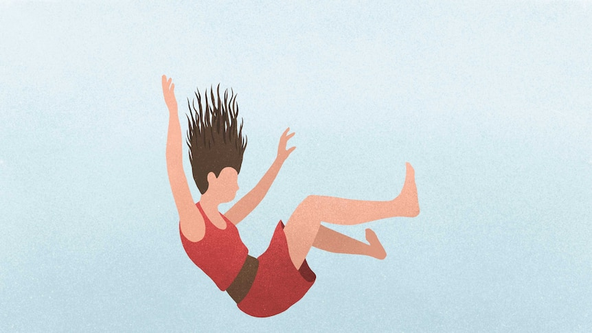 An illustration of a woman falling against a blue background.