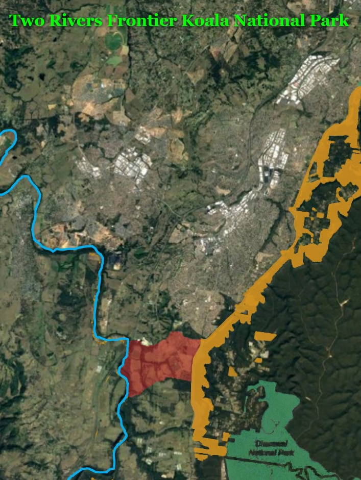 A map showing the Georges River National Park proposal with a section in red for koalas to cross between rivers