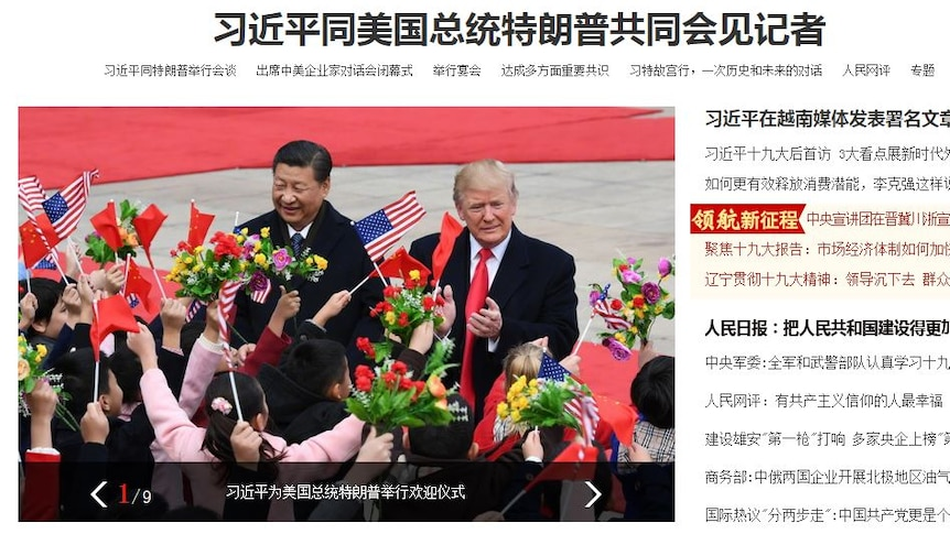 This morning's front cover of the Communist Party's official People's Daily in Chinese.