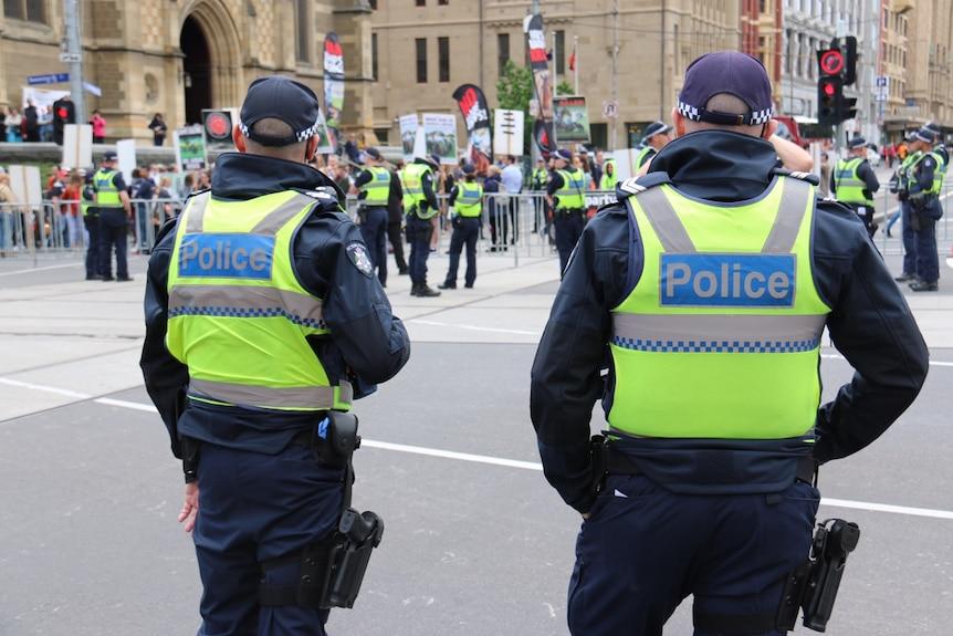 Victoria Police outside Flinders Street Station