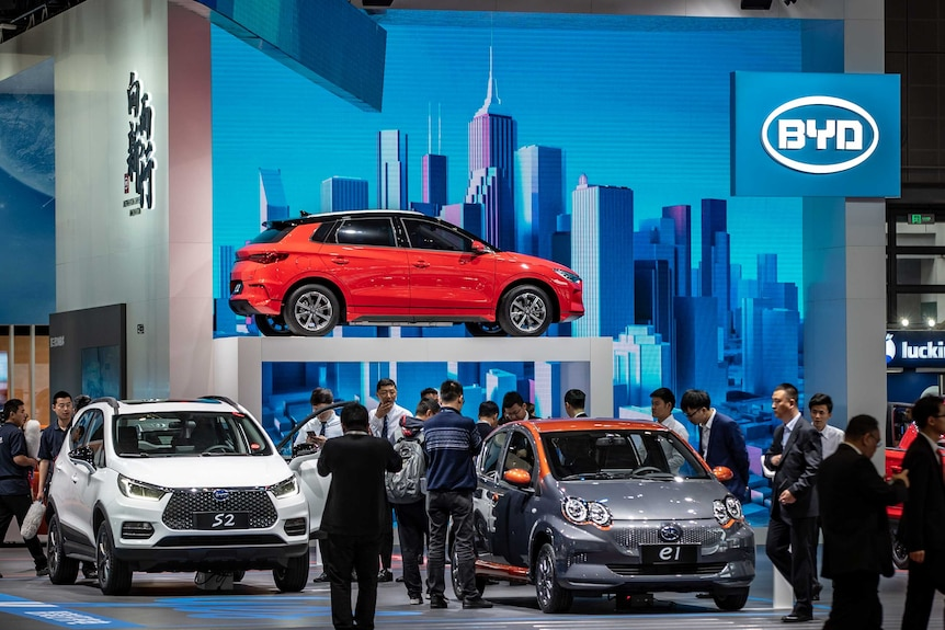 Cars on display at the BYD section of the Shanghai car show