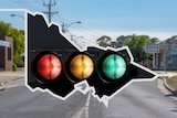 A graphic with traffic lights superimposed on a map of Victoria with a view of a country road in the background.