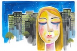 An illustration shows a woman with closed eyes, crying, in front of a cityscape.