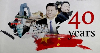"""A graphic of a collage of Xi Jinping, Deng Xiaoping, Huawei mobile phones, Chinese cash an the words """"40 years""""."""