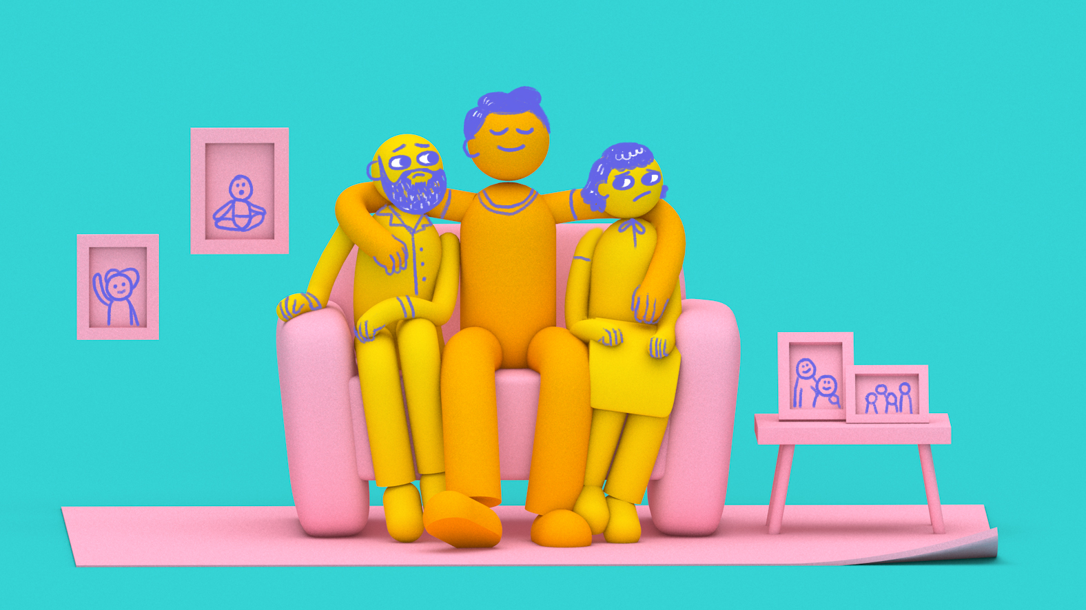 Illustration of a grown son and parents sitting on a couch to depict the rising trend of intergenerational living.