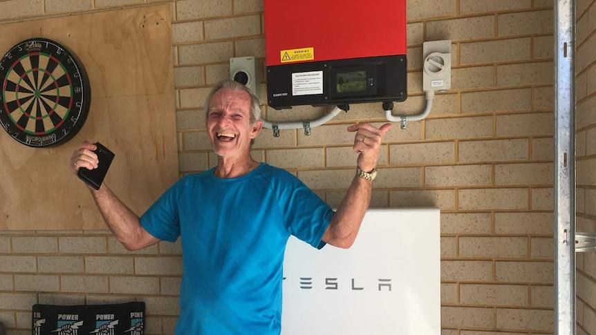 Tesla solar battery trial participant Des Jenkins.