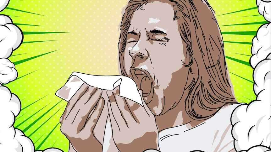 Illustration of a person sneezing into a handkerchief