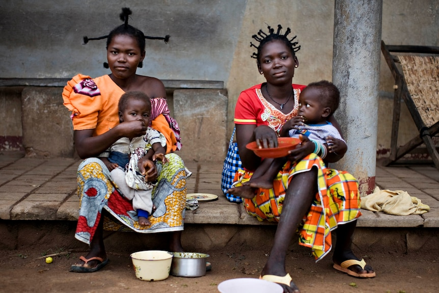Refugee mothers with children in north-eastern Congo