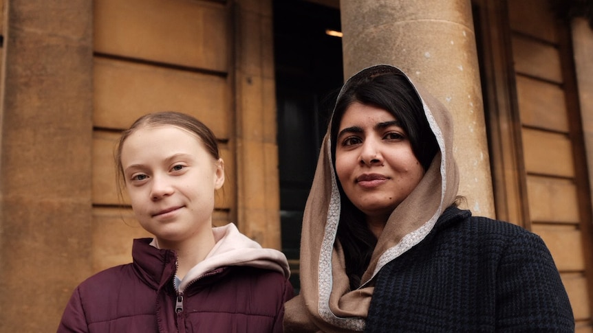Greta and Malala photographed together at the Oxford University.